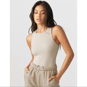 BNWT JOAH BROWN High Square Neck Tank in Dune Rib
